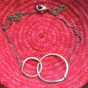 Brushed silver interlocking circles necklace